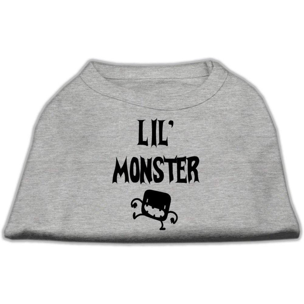 Dog   Cat   Pet Charms Lil Monster Screen Print Shirts Grey XL (16)