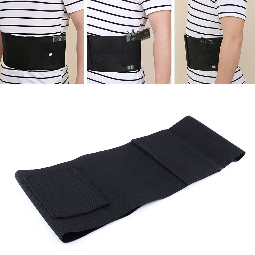 Yosoo Waistband Holster Elastic Belly Band Waist Pistol Belt Holster Core Defender for Concealed Carry Gun with 2 Mag Magazine Pouch,Black