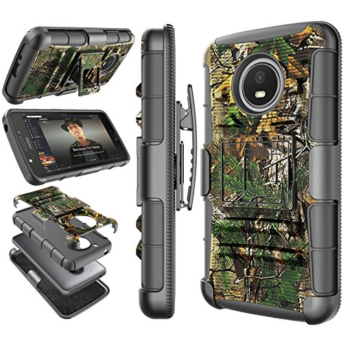Moto E4 Plus Case, 2017 Motorola Moto E Plus 4th Generation Holster Clip, Tekcoo [Hoplite] Shock Absorbing [Camo Pine] Swivel Locking Belt Heavy Full Body Kickstand Carrying Camouflage Cases Cover