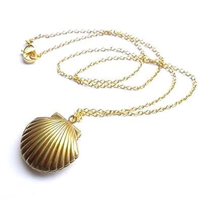 Amazoncom Alpertie Sea Shell Locket Mermaid Valentine Necklace