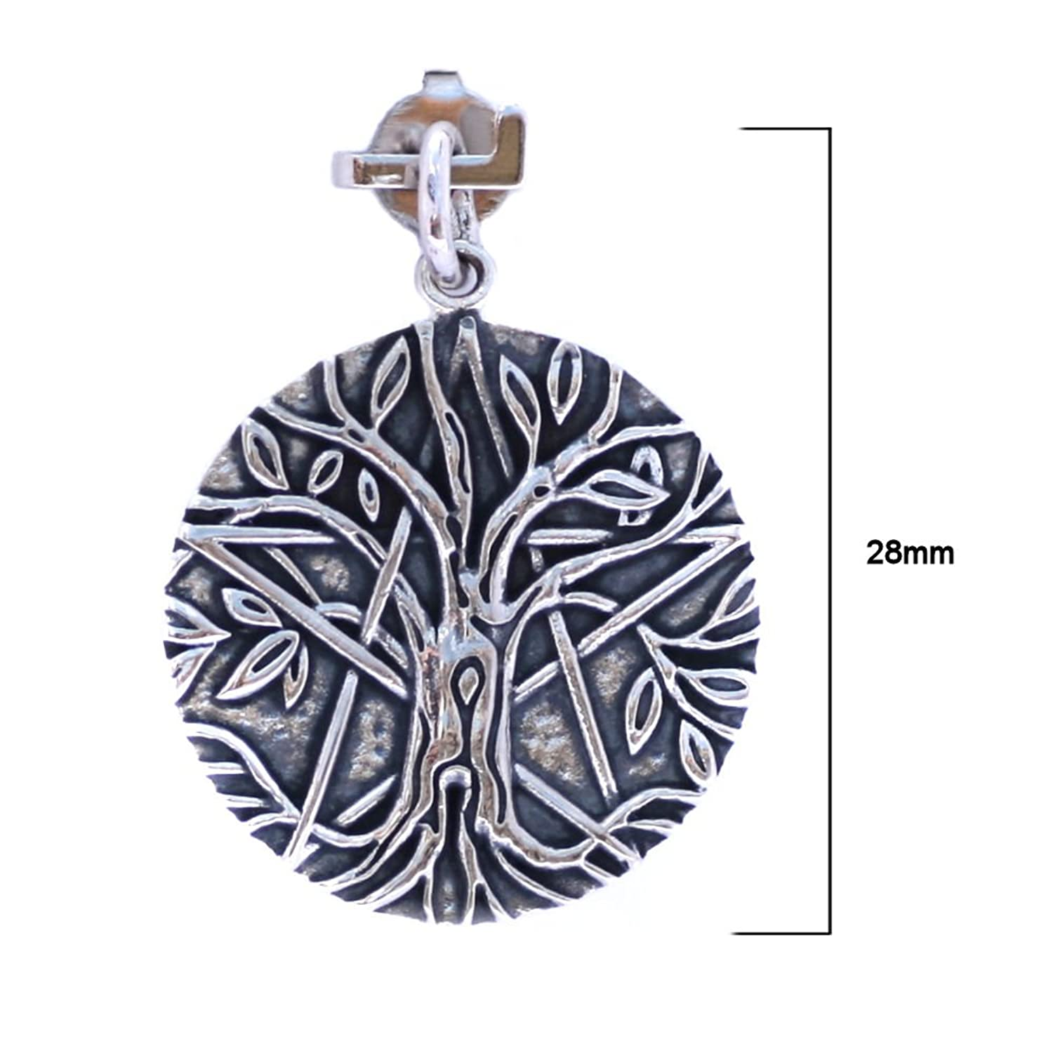 Solid Sterling Silver Pentagram Tree of Life Pendant Pagan (P014) VKOrlguiYj