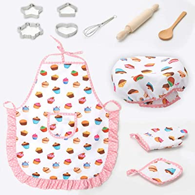 Ogquaton 11pcs / Set Kids Cooking Baking Kit Kitchen Chef Costume Role Play Delantal Sombrero Guantes Set para niños: Hogar