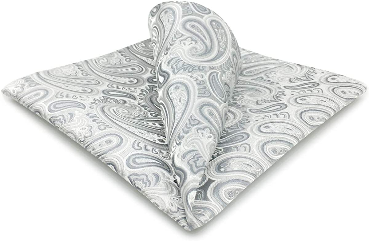 Silver Paisley Print  Handkerchief-pocket square-hankie  NEW