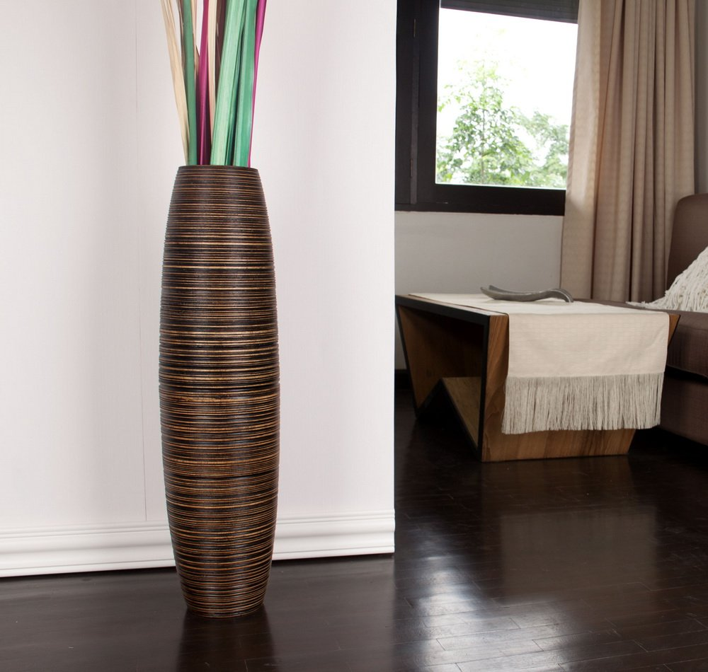 Amazon tall floor vase 30 inches wood brown home improvement reviewsmspy
