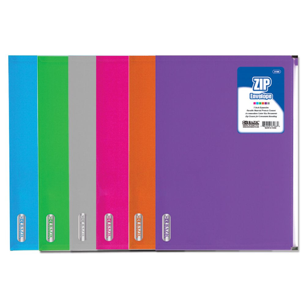 BAZIC Assorted Color Letter Size Zip Envelopes for Stationary and Office Supply Needs (Case of 24)