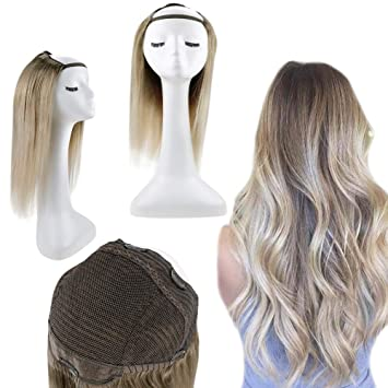Amazon Com Full Shine Human Hair Half Wig U Part 12 Inch Short Hair Wigs Dip Dyed Color 8 Fading To Color 18 Ash Blonde And 60 White Blonde Balayage U Part