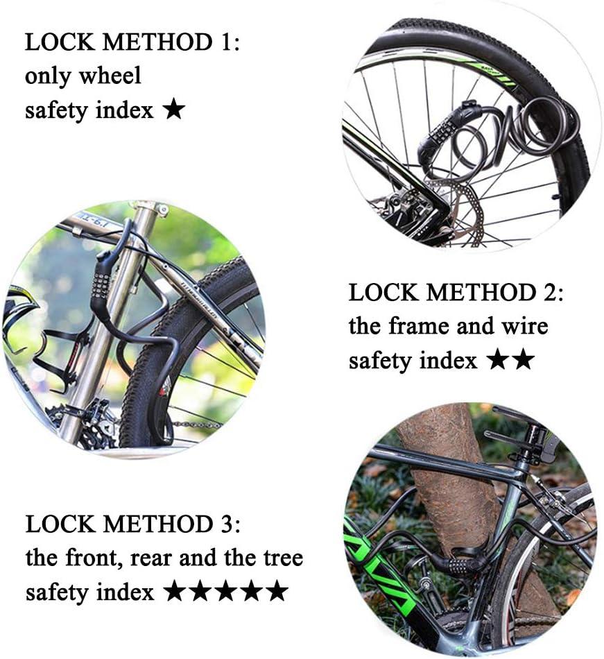 Candado de Bicicleta de Bloqueo de Cable Cerradura de Combinación de 5 Dígitos 1.2M/1.8M