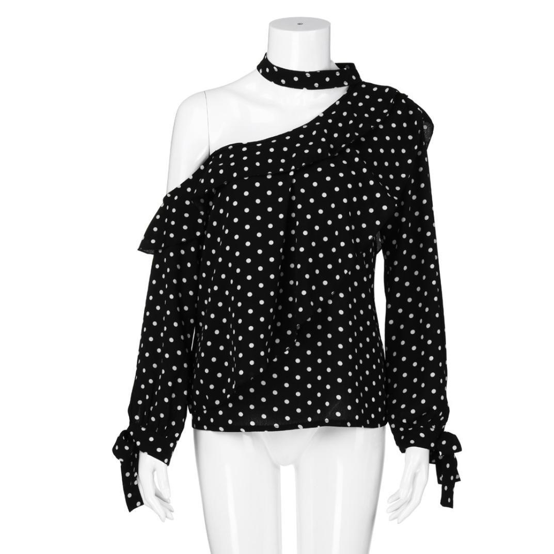DEELIN Blusa De Moda con Lunares para Mujer Blusa De Moda con Tapa Superior Blusa De Gasa con Manga Larga: Amazon.es: Ropa y accesorios