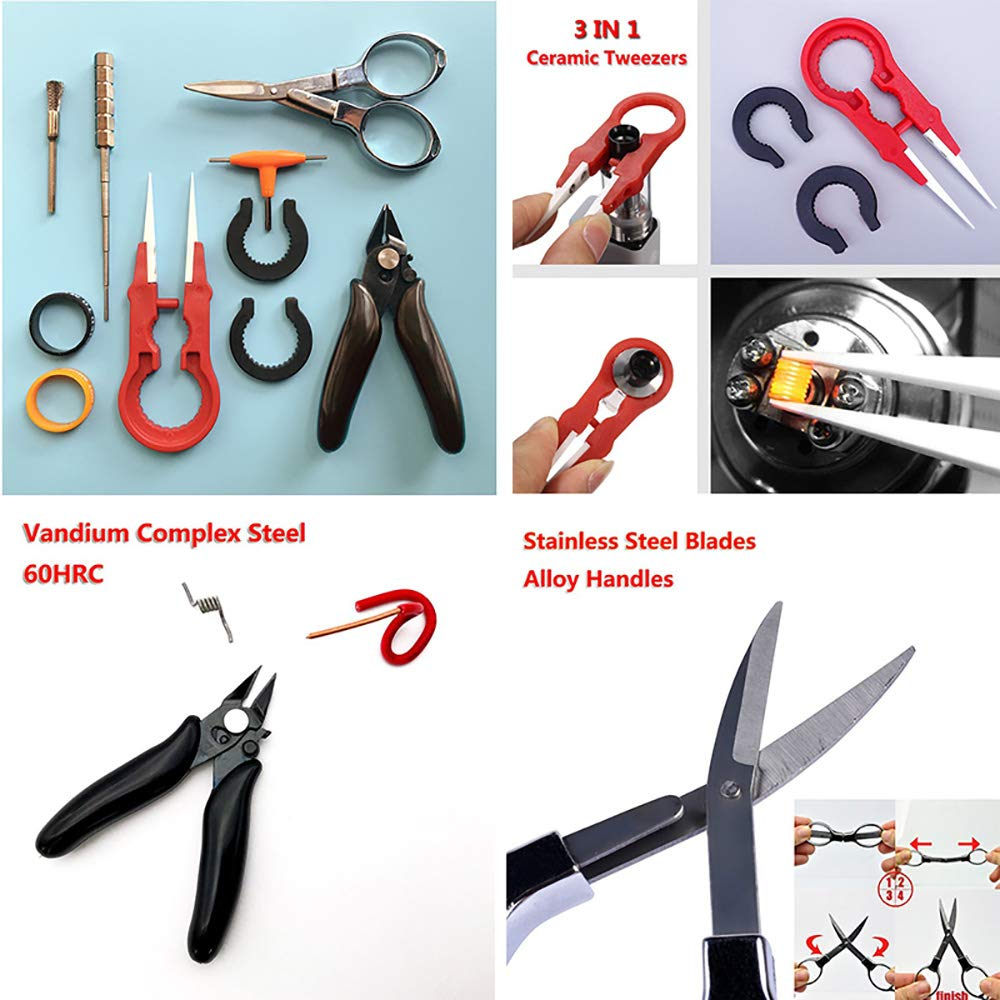 8PCS Practical Tool Kit- Ceramics Tweezers Set/Plier/Folding Scissors/Wire Jig/Clean Brush/T Style Screwdriver/2pcs Silicone Ring Multifunction Hand Tool
