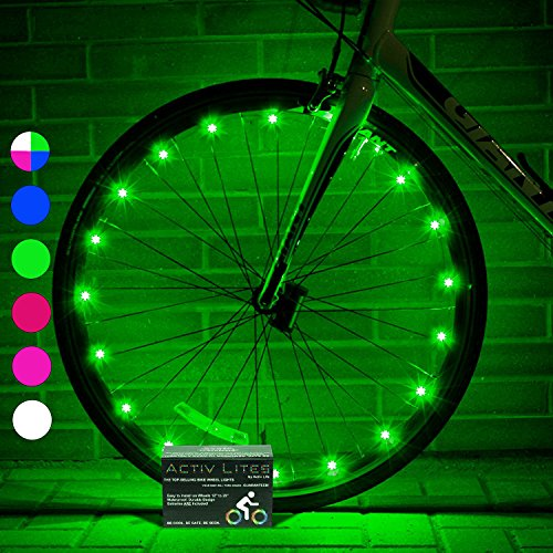 Super Cool LED Wheel Lights (1 Tire, Green) Fun Bicycle Spoke Wire & Bike Frame Safety String Lights - Best Wheelchair & Top Baby Stroller Accessory for Men, Women, Children - One Frame Free Buy One Get