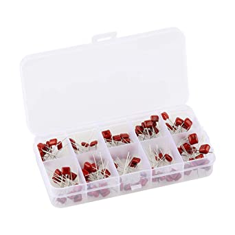New 100pcs 10 Values CBB Metallized Film Capacitor 100V Assorted Kit Red Color