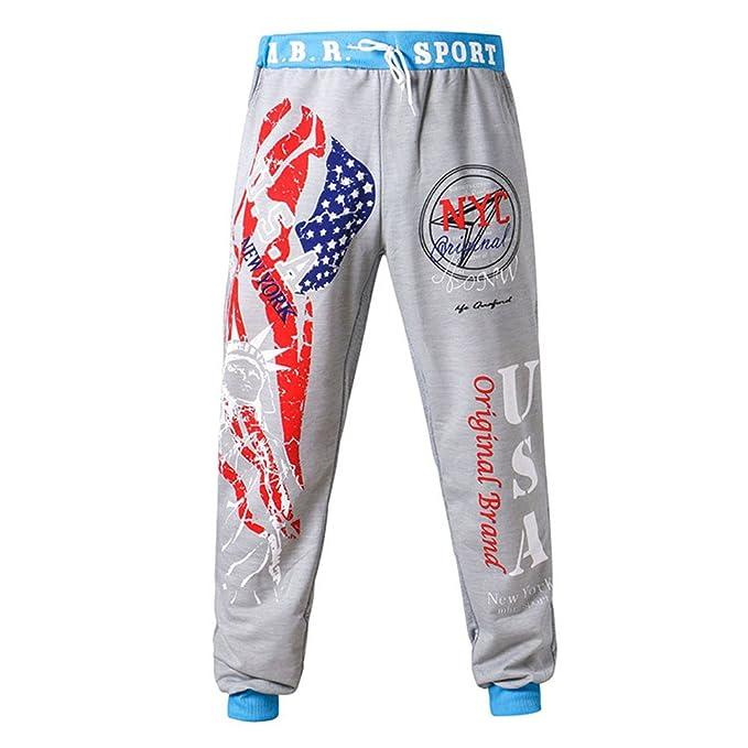 YanHoo Pantalones Hombres de Moda con cordón Cintura elástica de impresión Suelta Pantalones Deportivos Pantalones de