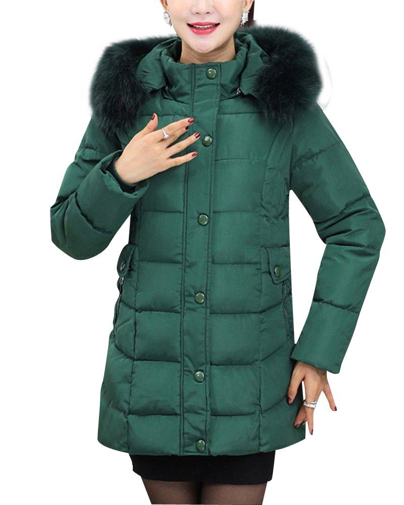 Mujeres de mediana edad Largo capa espesa la chaqueta abajo Código grande Abrigo de invierno