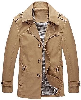 Mochoose Herren Trench Baumwolljacke Klassische Reverse Kragen Knopf Mantel  Jacke Langarm  Amazon.de  Bekleidung f7580dcd52