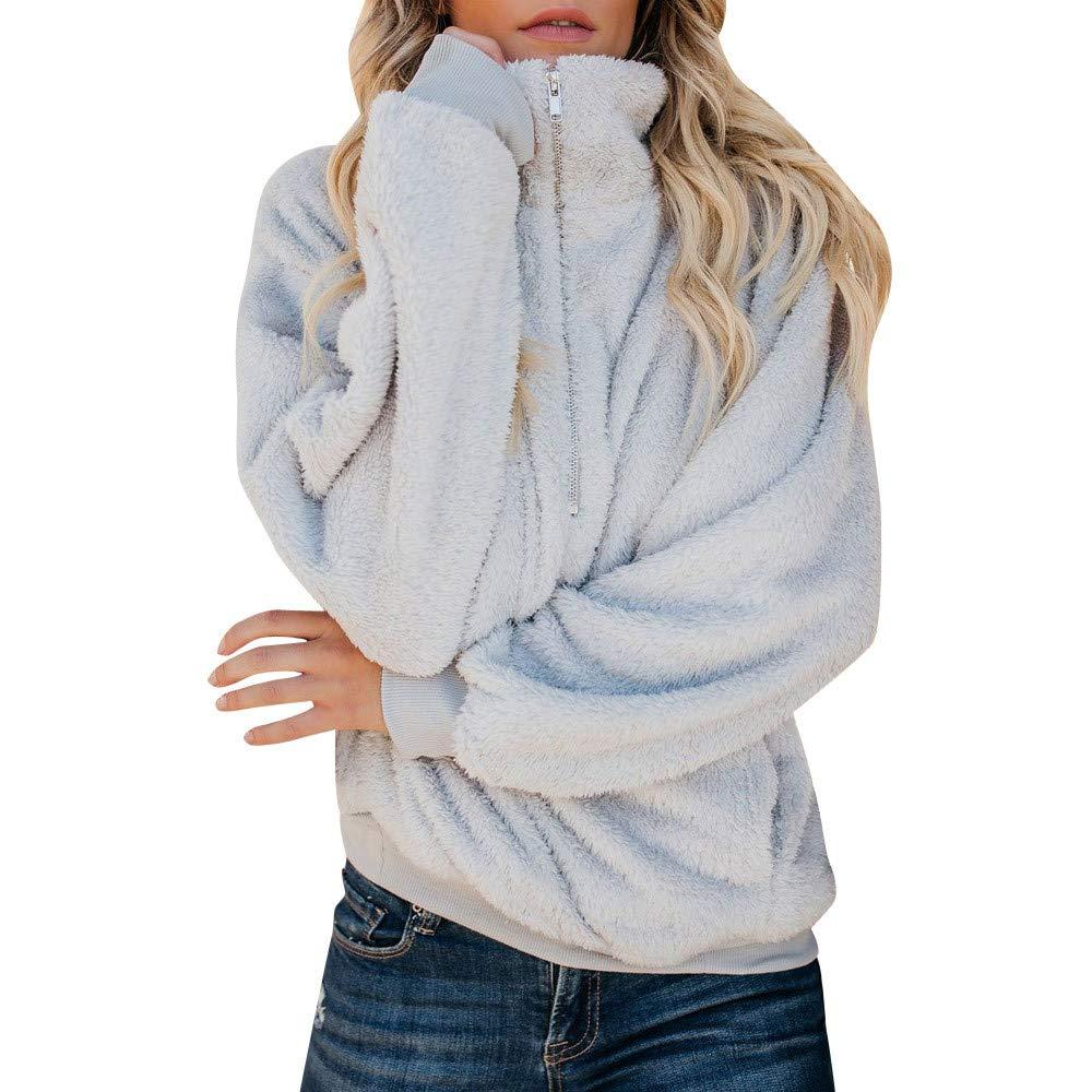Sunmoot Teddy Bear Sweatshirt for Women Winter Warm Faux Fur Sweatshirt Fleece Pullover Long Sleeve Sweater
