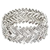 ACCESSORIESFOREVER Fashion Chic Crystal Rhinestone Dazzling Chevron Design Bracelet B424 Silver
