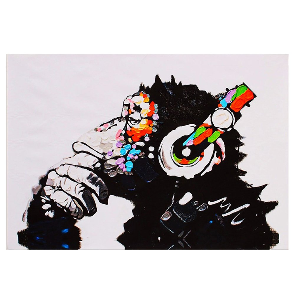 Ape, 30*45cm//12*18in Gemini/_mall/® Hand Painted Oil Painting on Canvas Pop Art Cool Ape Listening Music with Headphone Frameless Modern Canvas Wall Art Print Pictures Home Decoration