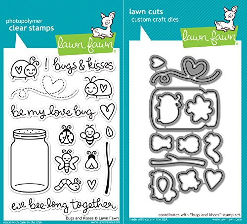 (Lawn Fawn Bugs and Kisses Clear Photopolymer Stamps LF789 Bundle with Coordinating Lawn Cuts Dies)