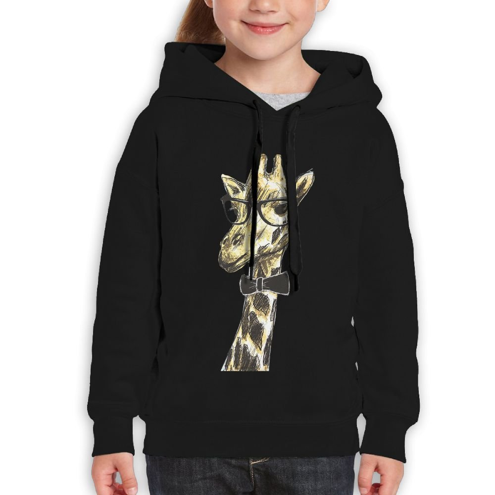 Bdna Teenager Pullover Hoodie Sweatshirt Giraffe Wearing Glasses Teen's Hooded For Boys Girls