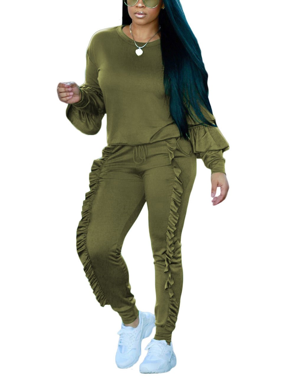 Akmipoem Autumn Long Sleeve Hoodie and Pants Two Piece Set Sweatsuits for Teen Girls,Army Green,Medium/US8-10