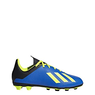 fc7cbb19 adidas Unisex X 18.4 FxG J Soccer Shoe, Football Blue/Solar Yellow/core