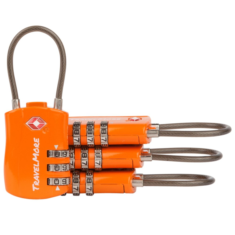 4 Pack TSA Approved Travel Combination Cable Luggage Locks for Suitcases & Backpacks - Orange by TravelMore