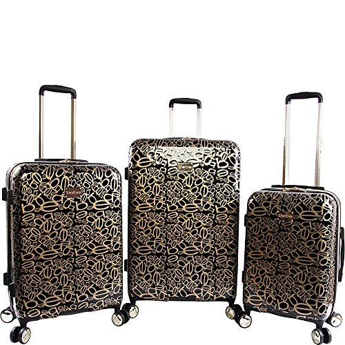 BeBe Women's Annabelle 3 Piece Set Suitcase with Spinner Wheels, Black/Gold from bebe