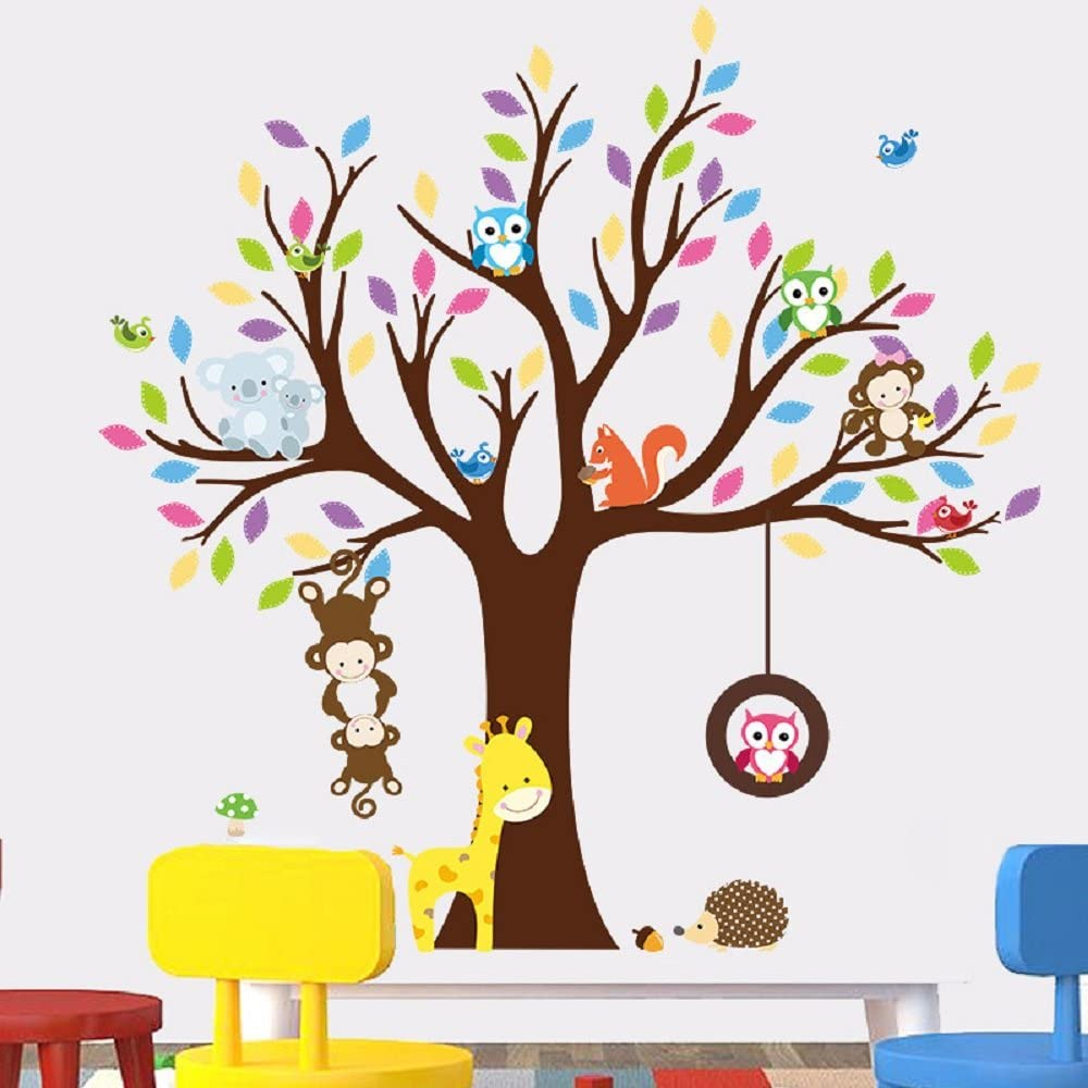 Amaonm Removable Creative Brown Tree Wall Decals Cute Cartoon Animals Wall Stickers Murals for Kids Room Bedroom Monkey Owls Koala Wall Decor Nursery Room Home Art Decor Living Room Decorations