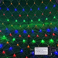 Christmas Net Lights, Outdoor Garden Net String Lights, 192LED 9.8ft x 6.6ft Fairy String Decorative Lights 8-Modes with 30V Safe Voltage for Christmas Wedding Garden Decorations (Multicolor)