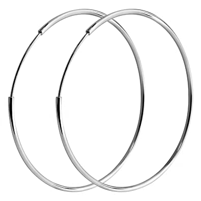 2483dcd00 Amazon.com: IDoy 925 Sterling Silver Hoop Earrings - Simple Polished Large  Round Earrings for Women 25mm: Toys & Games