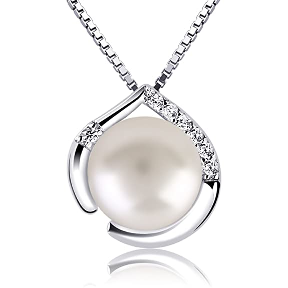 B.Catcher Necklace Pearl Womens 925 Sterling Silver Freshwater Pearl Cubic Zirconia Heart Pendant Necklace Mother's Day Gift