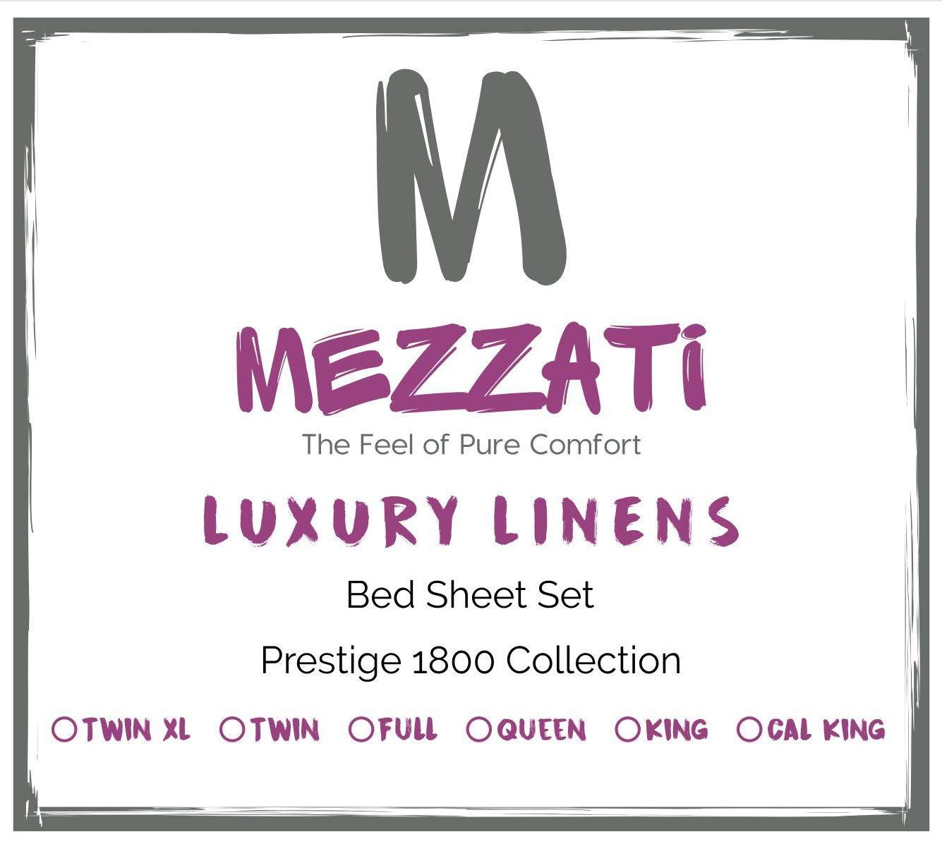 Mezzati Luxury Bed Sheet Set - Soft Comfortable 1800 Prestige Collection - Brushed Microfiber Bedding (Pink, Full Size)