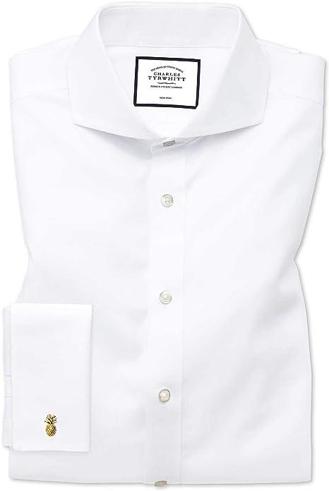 Camisa sin Plancha Blanca de Sarga Slim fit con Cuello Italiano Extremo