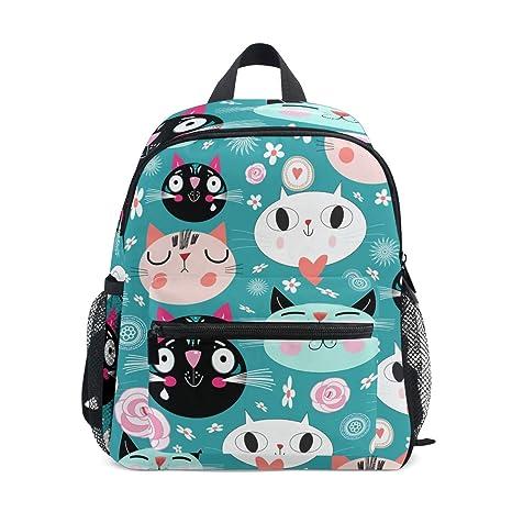 FAJRO- Mochila Escolar para niñas con diseño de Gatos: Amazon.es ...