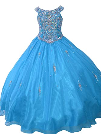 0169e53b264 TaYan Little Girls Birthday Party Ball Gown Crystals Beading Girls Pageant  Dresses 2 US Blue