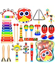 Elover Musical instruments for Toddlers 15 Types 20 PCS Wooden Musical Toys Set Baby Percussion Instrument Early Education Toys for Boys and Girls with Storage Backpack