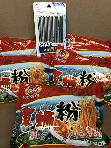 KC Commerce Liu Quan LUO SHI FEN Rice Noodle 268g Pack of 5 Come With 5 Pairs Stainless Chopsticks - Shi Shi Liu