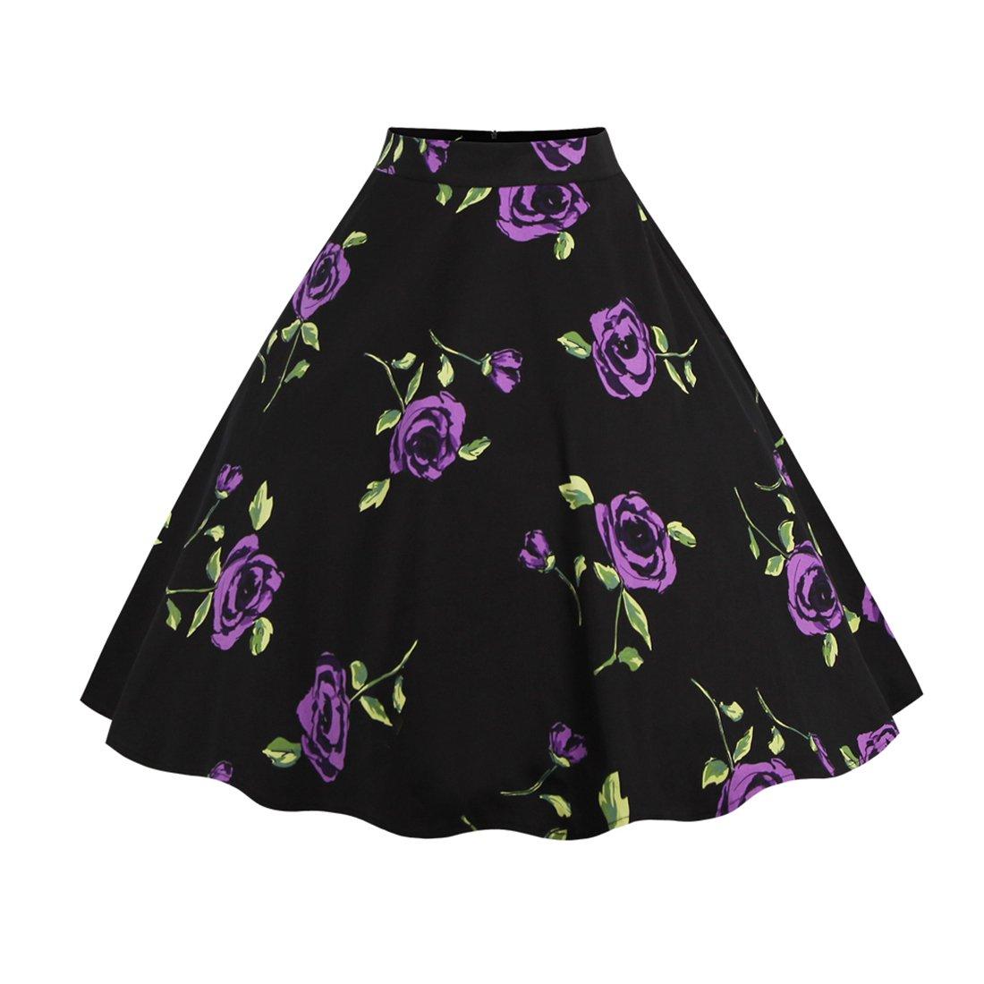 GWELL Damen Elegant 50er Jahre Retro Vintage Swing Röcke Faltenrock Knielang A-Linie Hohe Taille Rockabilly Tanzkleid Party Hochzeit