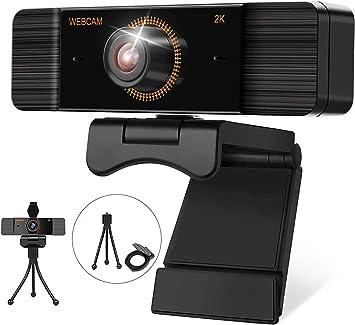 Todo para el streamer: 2K Webcam PC con Micrófono, Web Cámara 1440P, Vista Gran Angular para Transmisión en Streaming, Conferencias en Zoom, Youtube, Skype, Clases en línea y videoconferencias Compatible con Windows, Mac