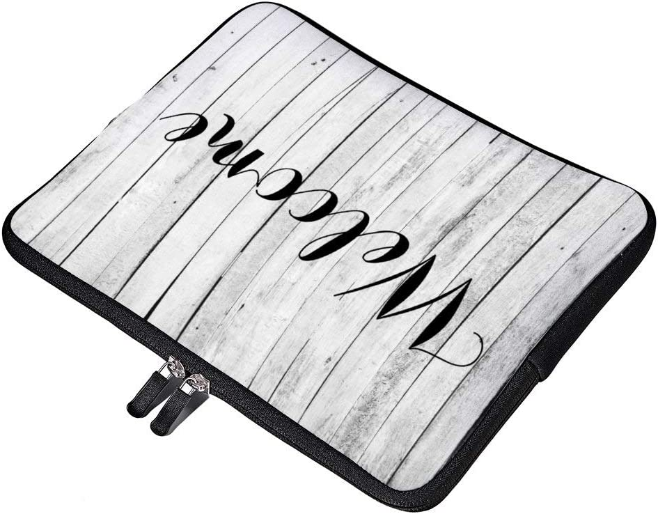 """Welcome Rustic Black and White Wood Panel Farm Neoprene 15 Inch Laptop Sleeve Case Protective Computer Cover Carrying Bag for 15"""" MacBook Pro Notebook"""
