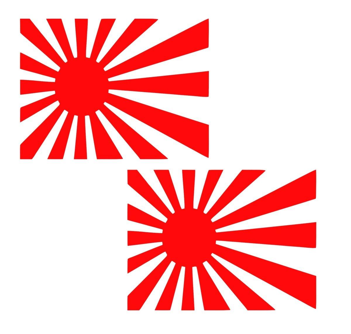 レッド4で。Rising Sun Flag 2 - Packデカールビニールsticker|cars Trucks壁ノートパソコンtablet|red|4 in|jjuri014   B0762FBWT2