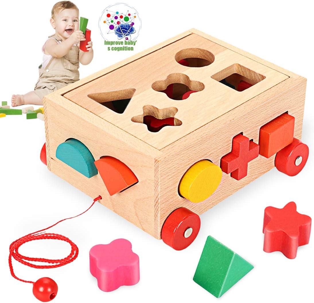 O-Kinee Cubo Actividades de Madera Juguete Educativo Rompecabezas de Cubo de Madera para Promover el Reconocimiento de Forma y la Concentración