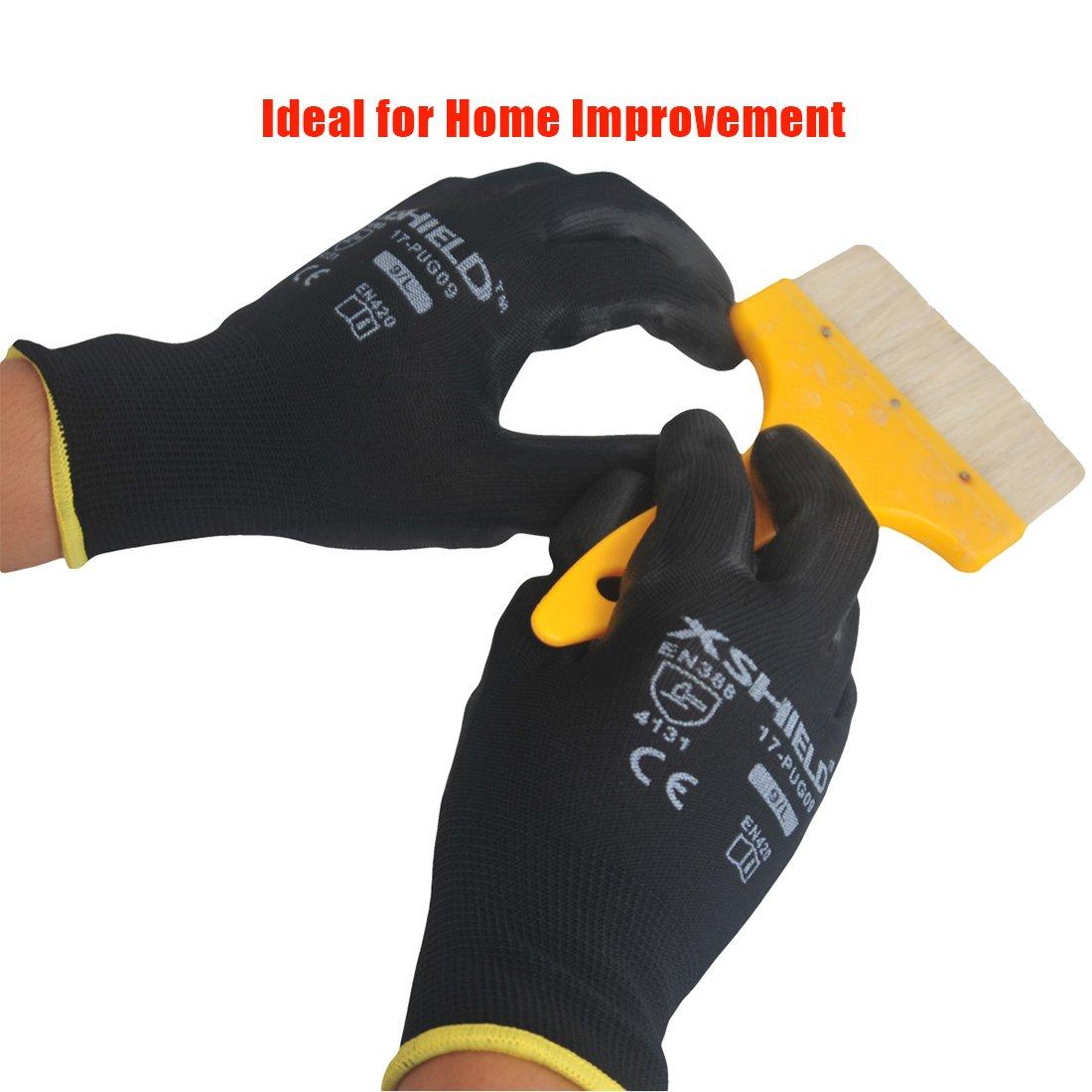 XSHIELD 17-PUG,Polyurethane/Nylon Safety WORK Glove,BLACK,12 Pairs (Large) by XSHIELD (Image #6)