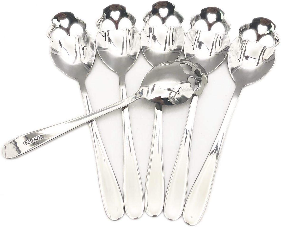 3 colors ODDIER 304 Stainless Steel Sugar Skull Tea Spoons Coffee Metal Stirring Slotted Spoon Set of 6
