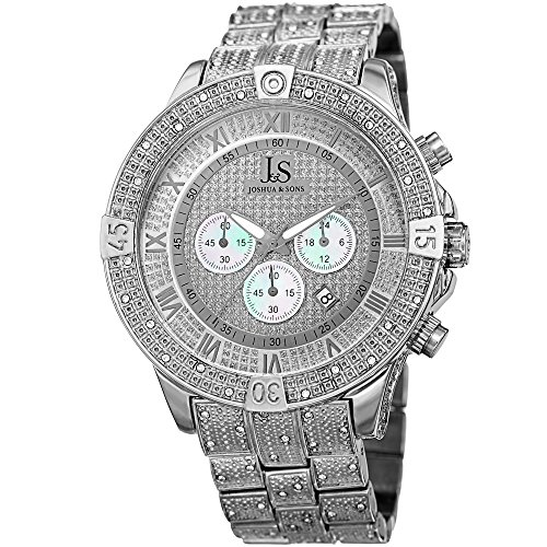 Joshua & Sons Chronograph Mother-of-Pearl Crystal Pave