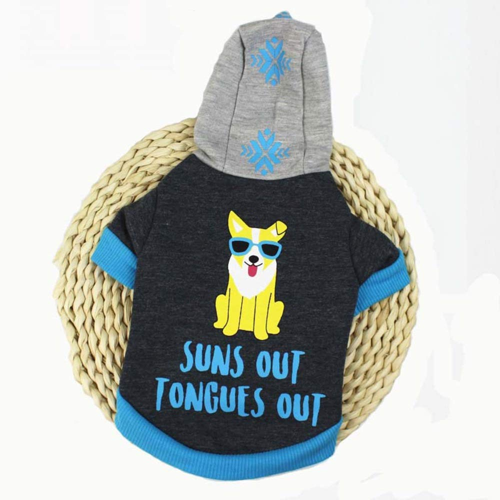 bluee M bluee M WENNEW Dog Clothing Hoodie Plus Velvety Medium and Little Dog Clothes (color   bluee, Size   M)