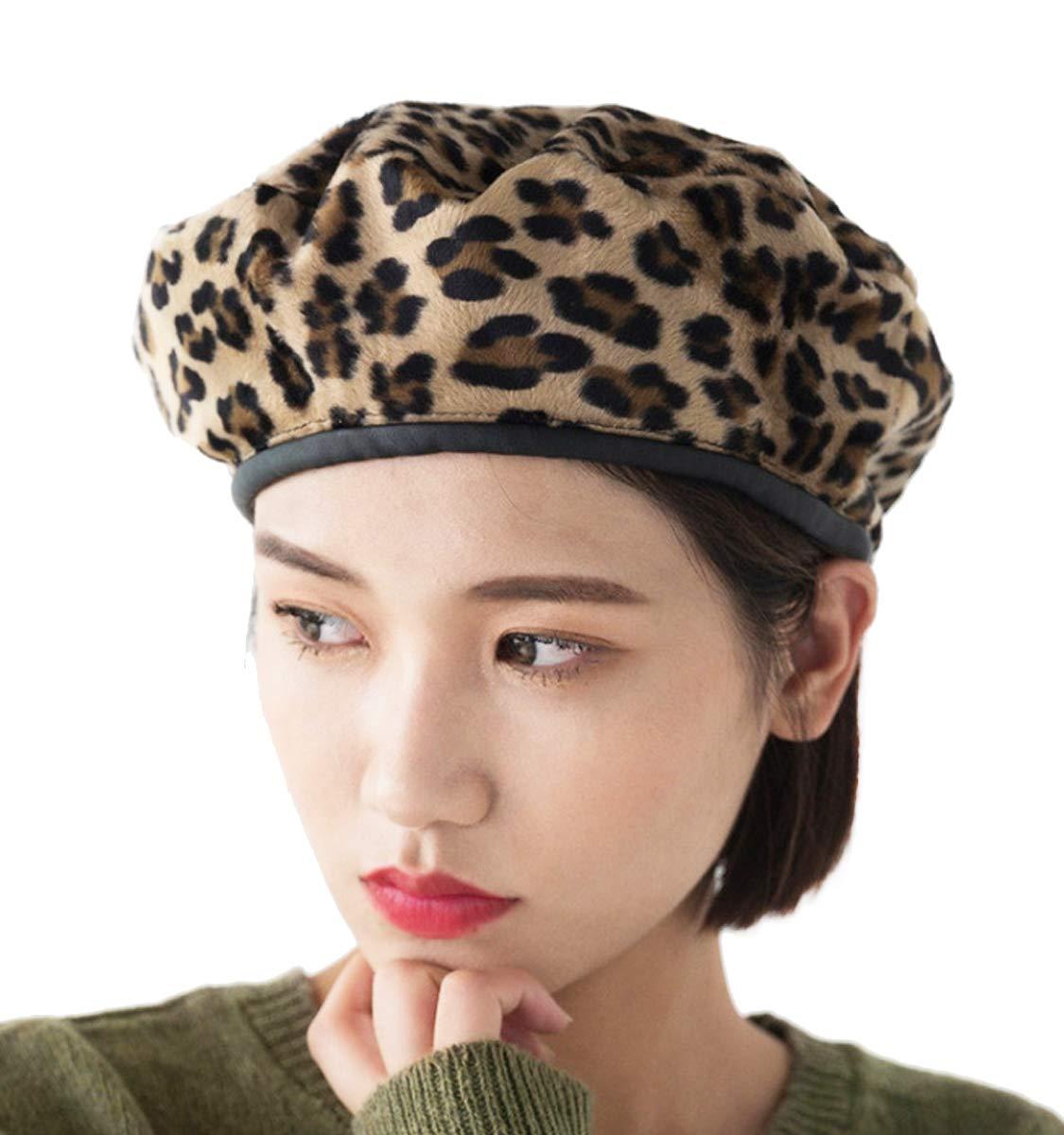 Clecibor PU Brim Leopard Print Woolen Blend Beret French Style Painter Hat Cap