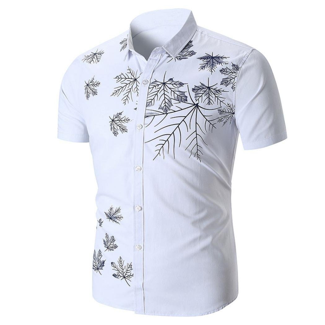 Howley Fashion Men's Slim Fit Summer Casual Short Sleeve Printed Shirt Top Blouse (White, S)
