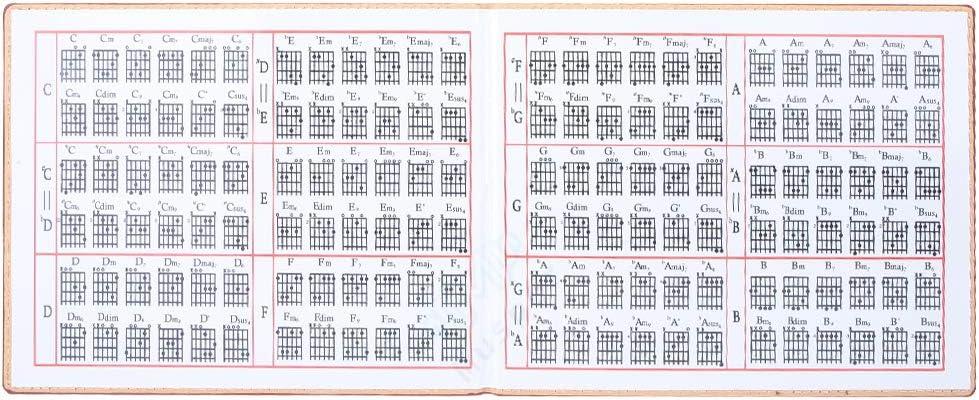 Guitarra Chord póster, profesional 6 cuerdas guitarra Chord ...