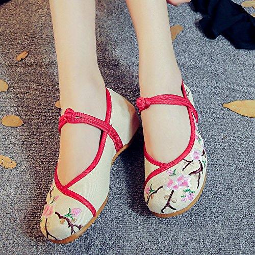 WXT Zapatos bordados, lenguado del tendón, estilo étnico, zapatos de tela femenina, moda, cómodo, casual dentro del aumento meters white